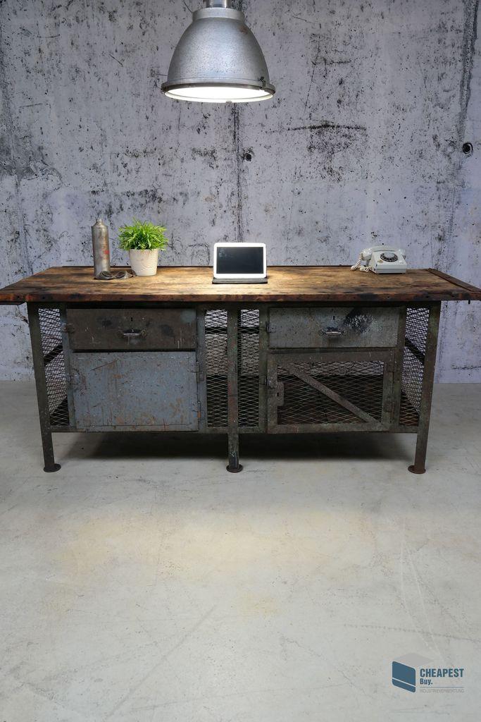 Alte werkbank loft m bel arbeits tisch industriedesign rust look vintage artdeco ebay - Design mobel nachbau ...