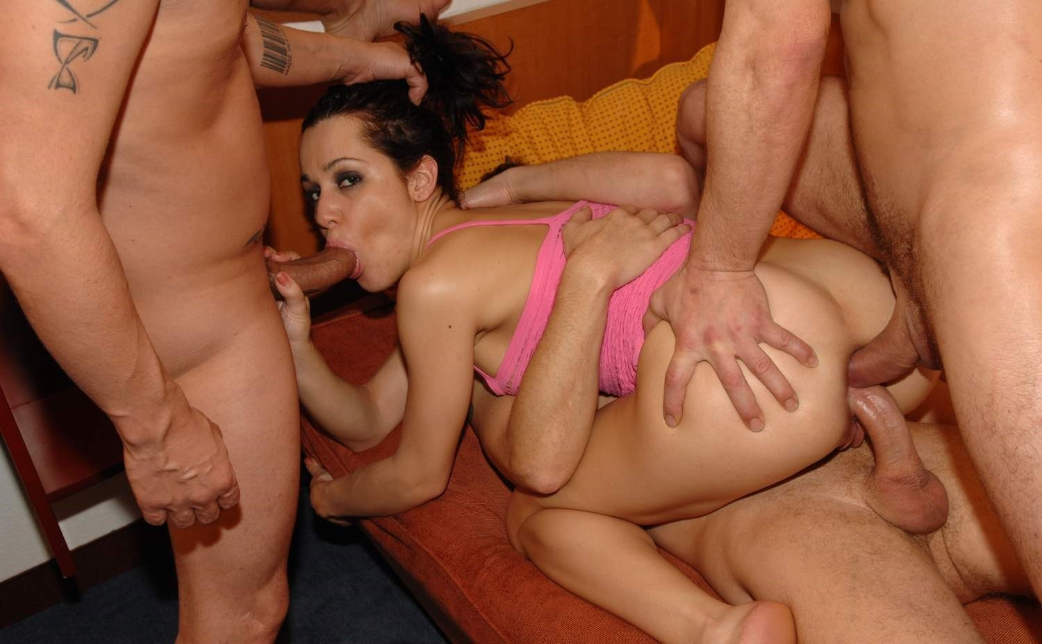 Girl rides reverse cowgirl