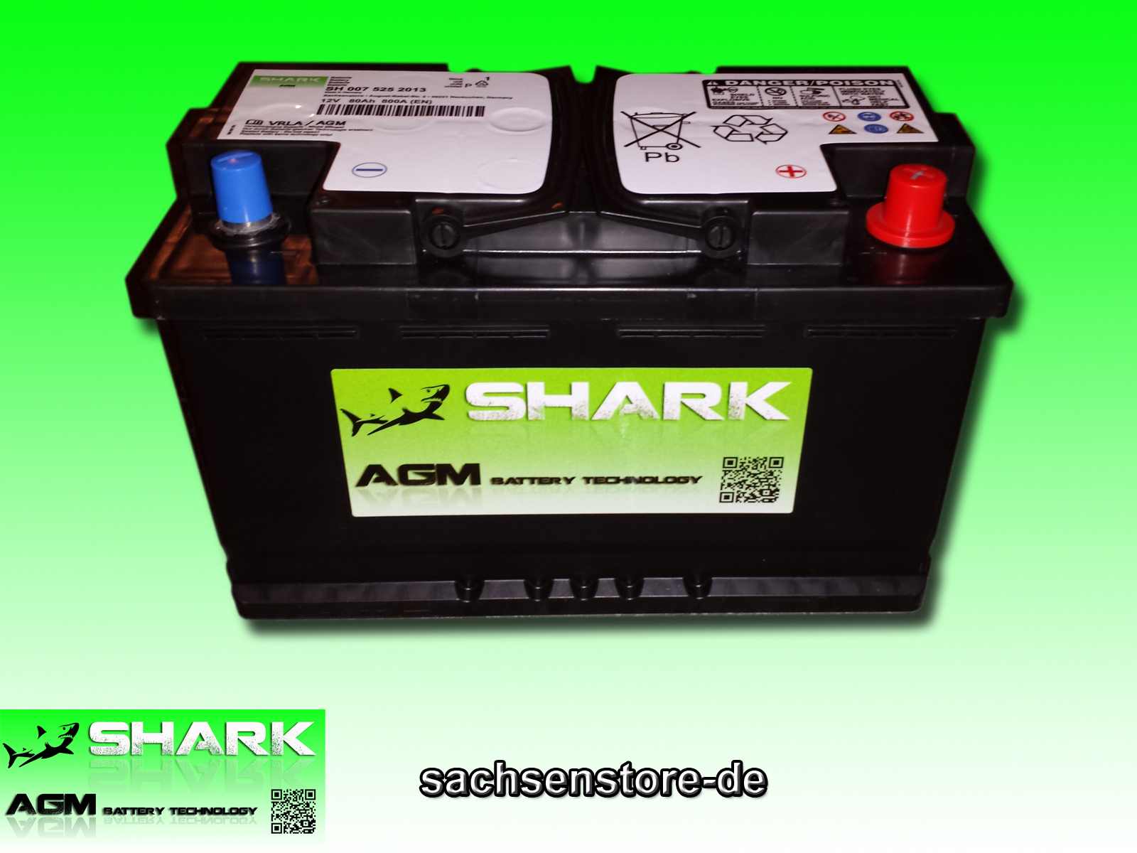agm batterie neu shark 95 ah 12v grau ebay. Black Bedroom Furniture Sets. Home Design Ideas