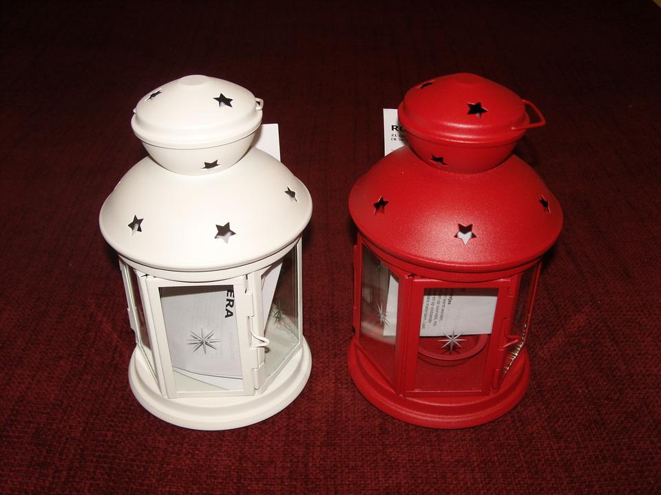 ikea gro e laterne windlicht rotera 38 cm f r blockkerzen rot wei neu ebay. Black Bedroom Furniture Sets. Home Design Ideas