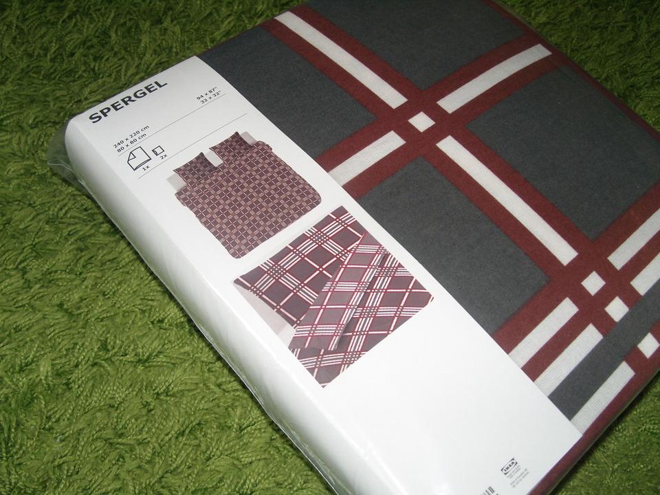ikea 3 tlg feinbiber bettw sche spergel dunkelgrau weinrot karo 240x220 neu ebay. Black Bedroom Furniture Sets. Home Design Ideas