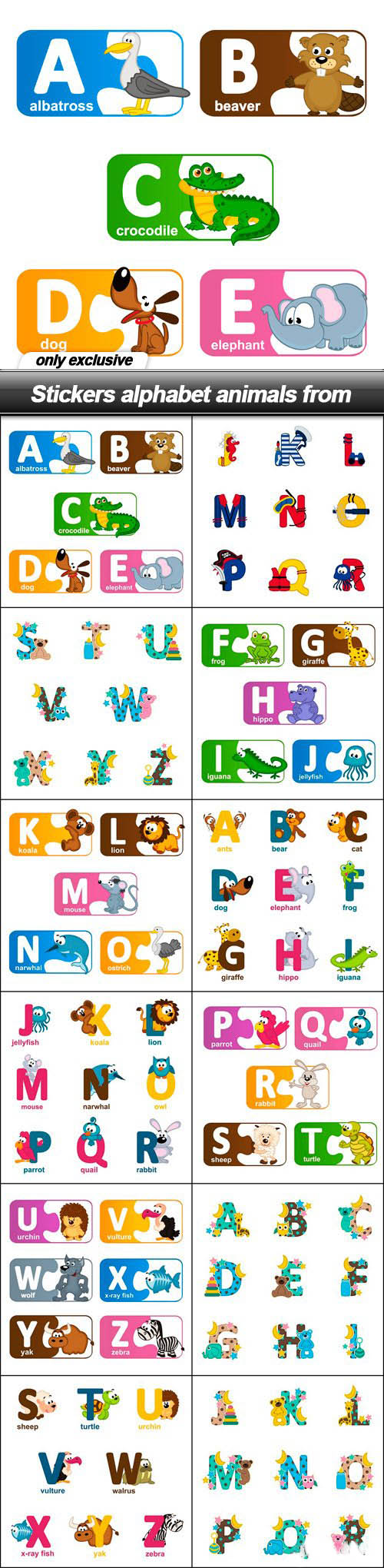 Stickers alphabet animals from – 12 EPS