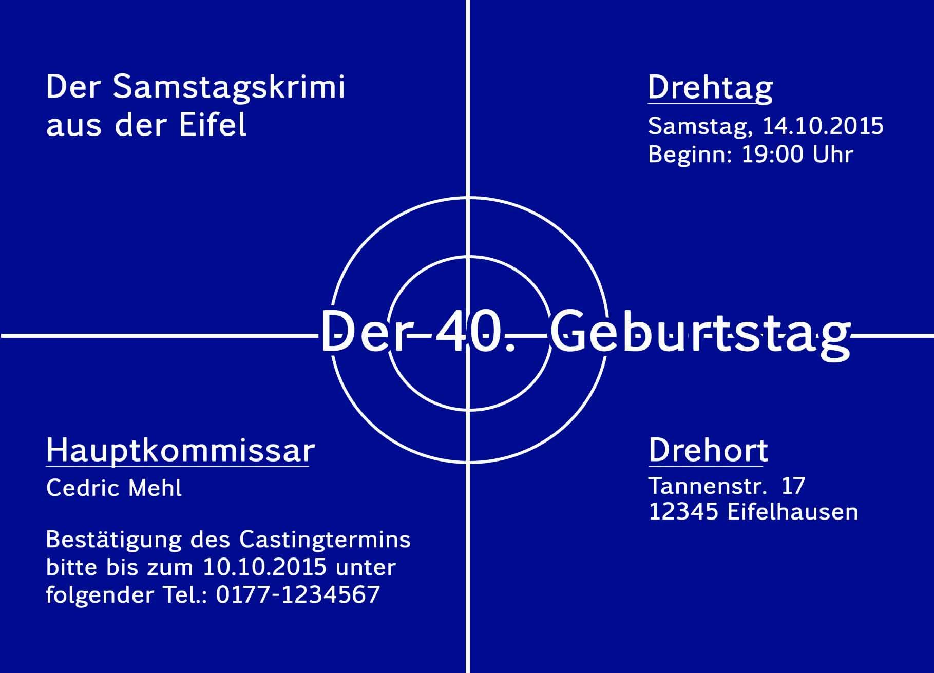 Fabelhaft Einladungskarten Tatort Geburtstag Einladung Geburtstagseinladung  TV69