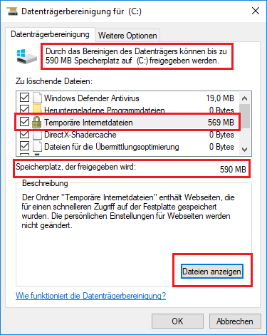 Cache Temporäre Internetdateien