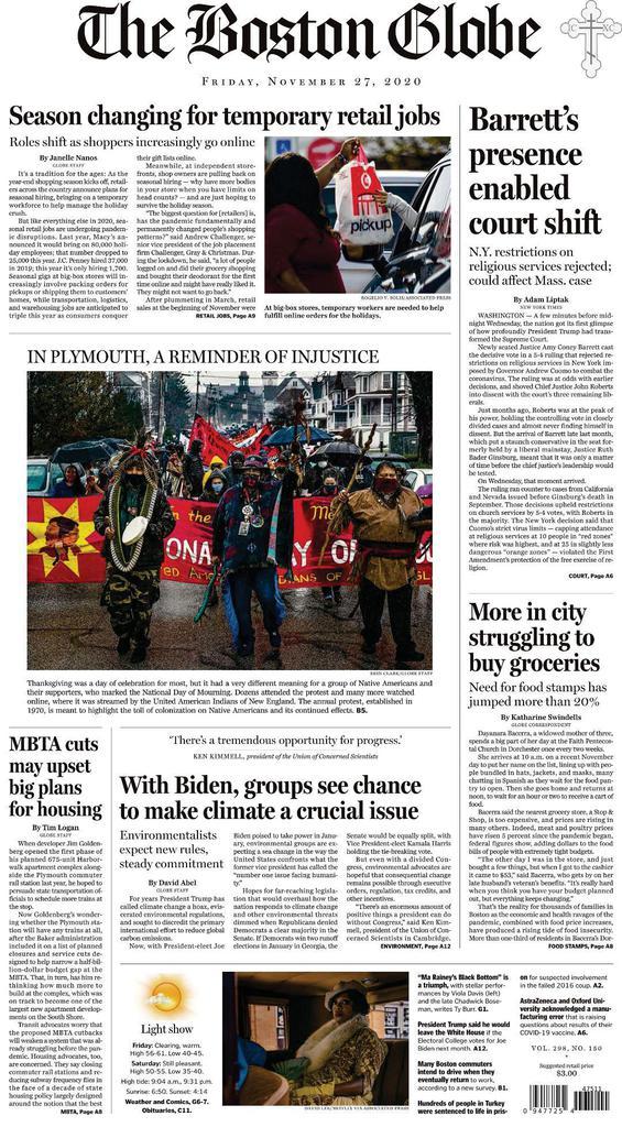 The Boston Globe - Vol. 298 No. 150 [27 Nov 2020]