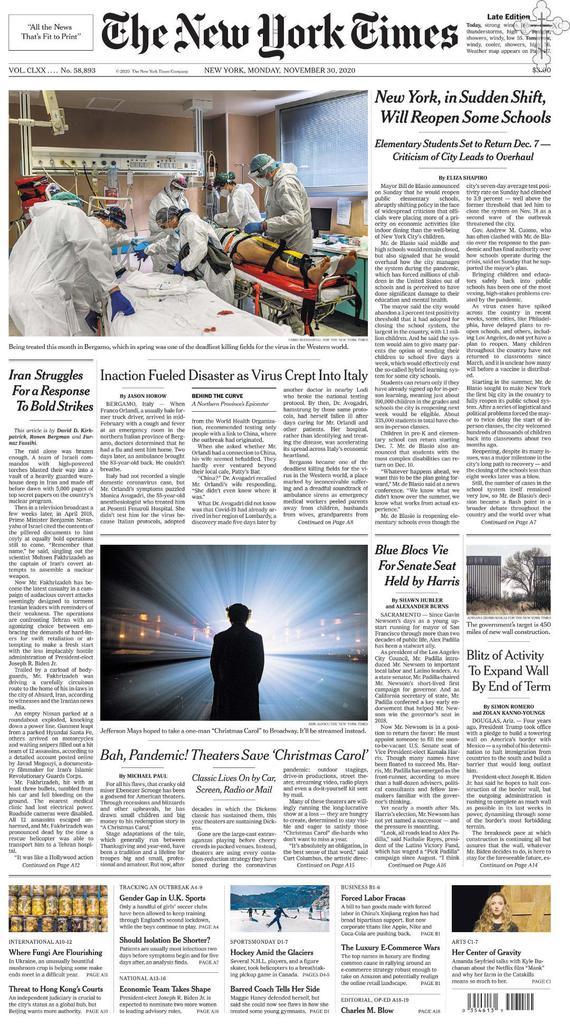 The New York Times - No. 58,893 [30 Nov 2020]