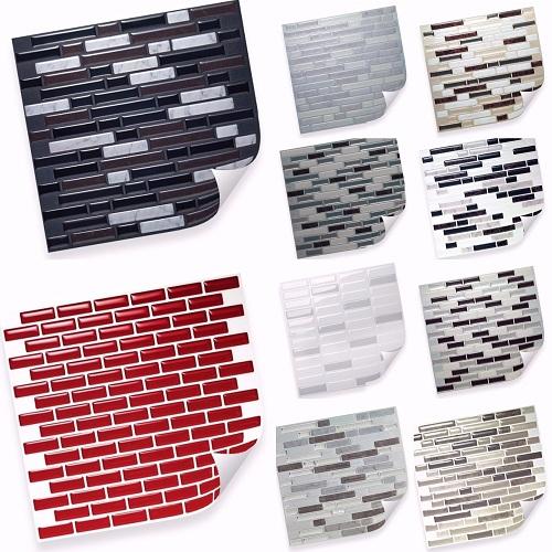 selbstklebende vinyl mosaik 3d fliesen matten zur wandgestaltung deko veredelung ebay. Black Bedroom Furniture Sets. Home Design Ideas