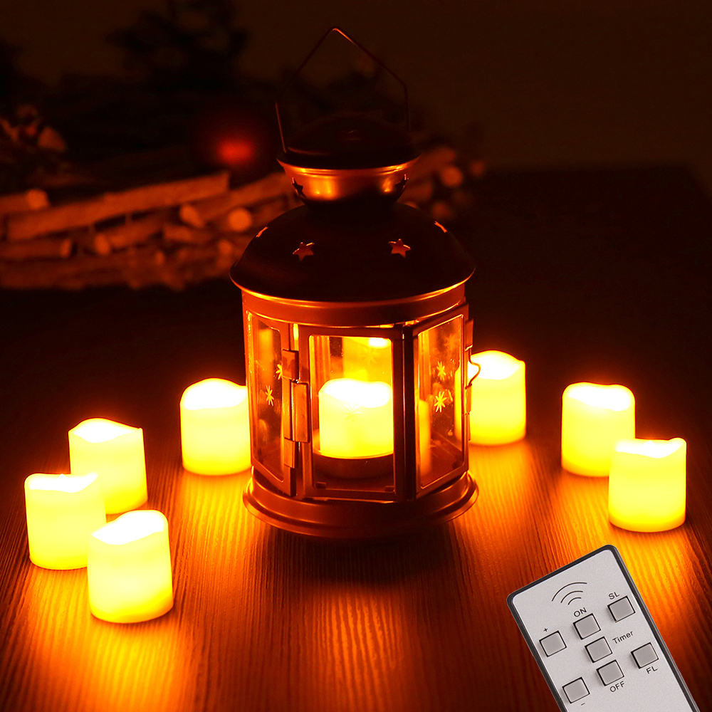 9 led kerzen mit fernbedienung flammenlos teelichter. Black Bedroom Furniture Sets. Home Design Ideas