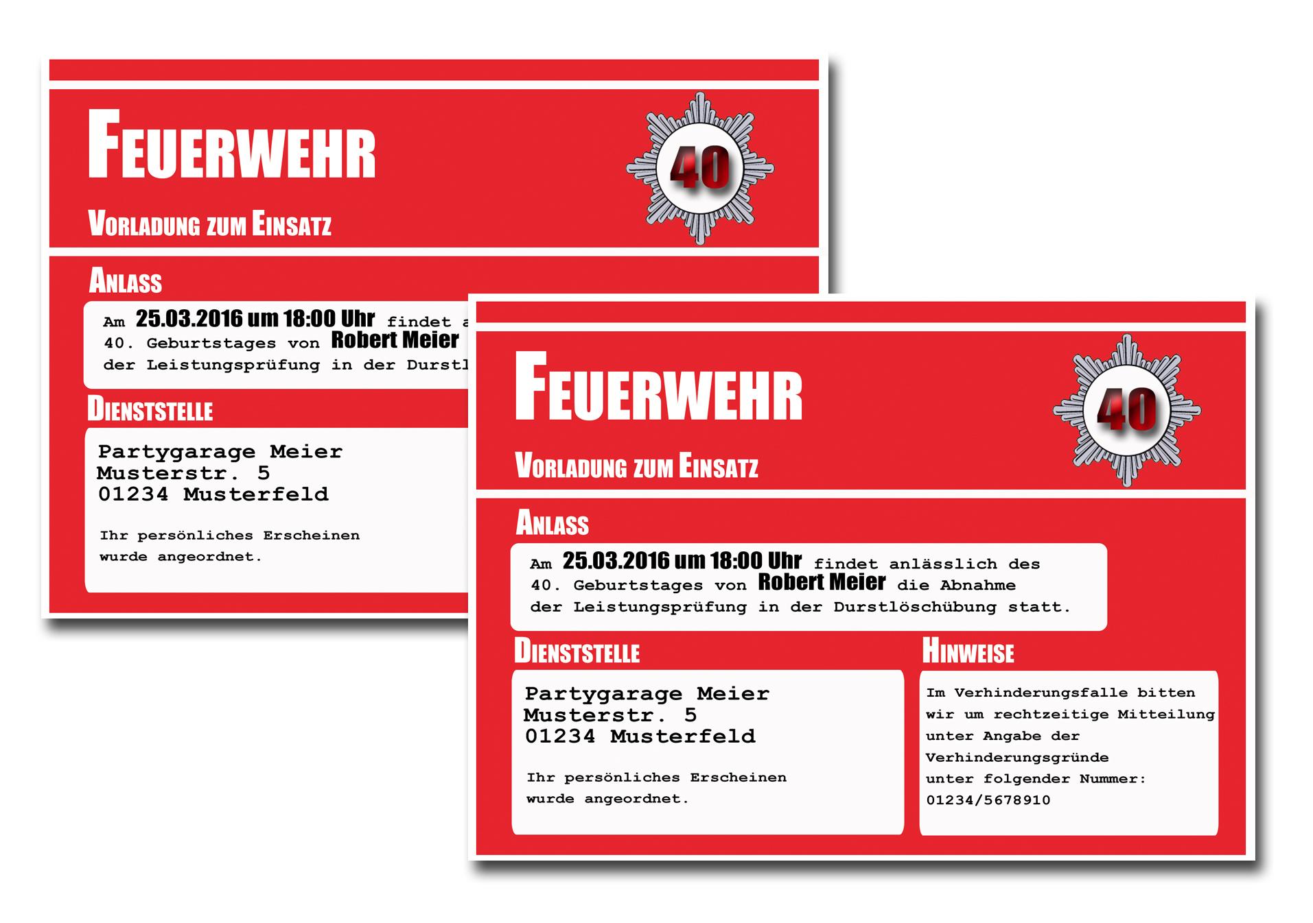 Einladungskarten Party Feuerwehr Einladung Geburtstagseinladung 18 30 40 50 60 | eBay