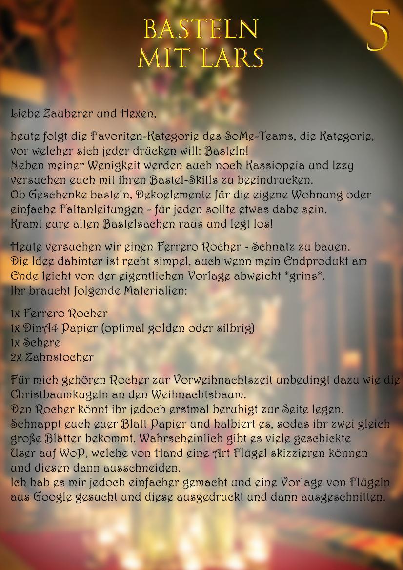 Bastelstunde Adventskalender 5 World Of Potter