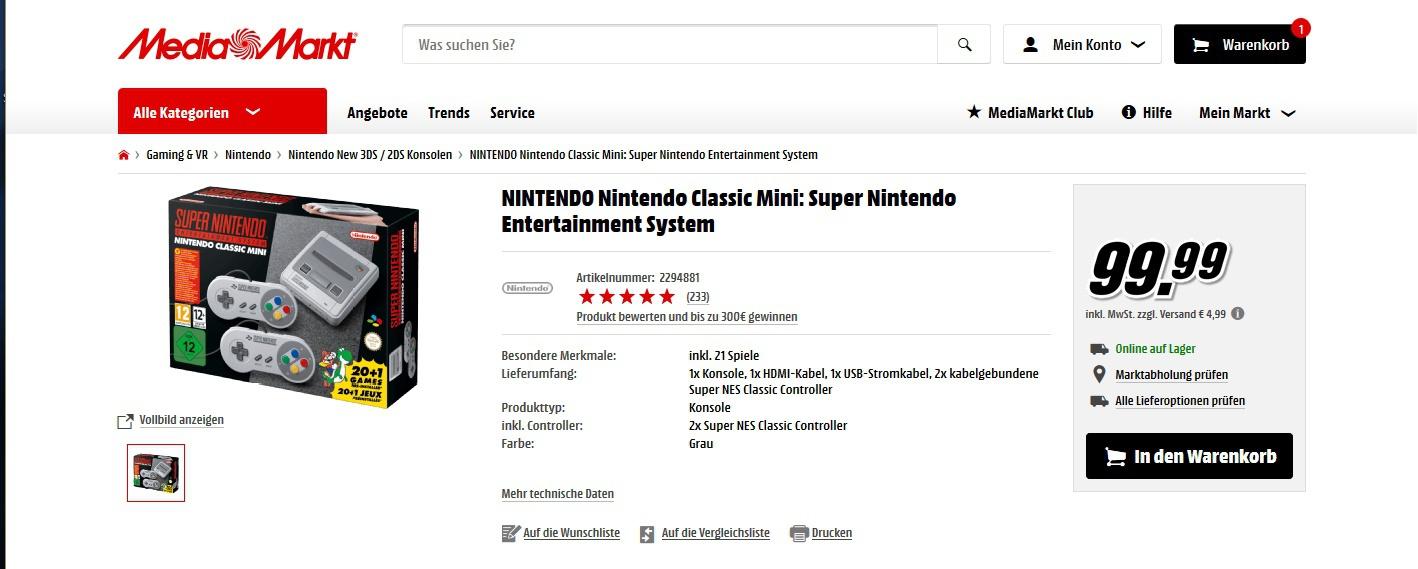 update media markt super nintendo classic mini f r 99. Black Bedroom Furniture Sets. Home Design Ideas