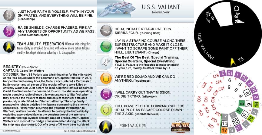 Heroclix Star Trek Tactics IV Valiant #003 U.S.S