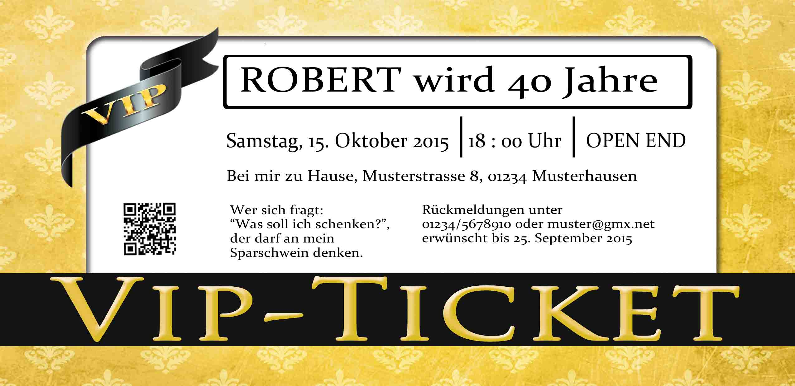 Einladungskarten VIP Ticket rot Geburtstag Einladung Party ... - Einladungskarten Vip Ticket