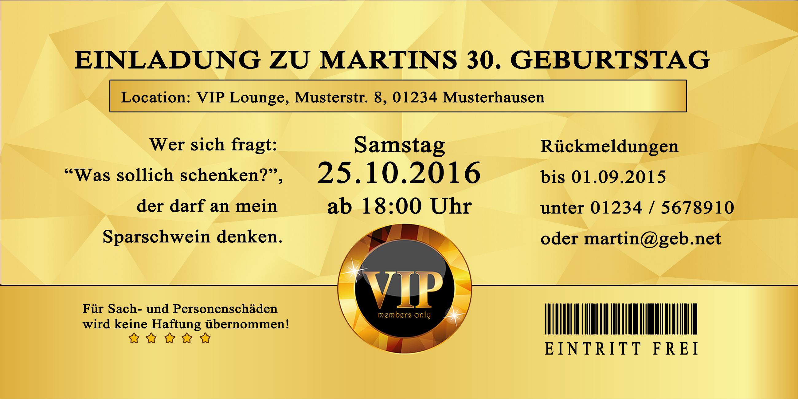 Einladung VIP Damask