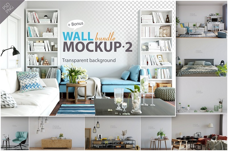 Wall Mockup – Bundle Vol. 2-Photoshop PSD