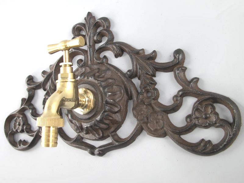 wandplatte 17x30cm gusseisen mit messing wasserhahn 3 4 zoll wandbrunnen 5b ebay. Black Bedroom Furniture Sets. Home Design Ideas