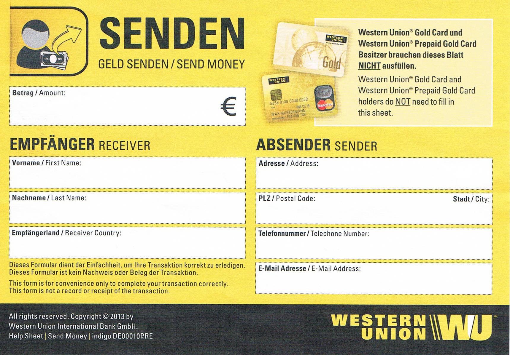 Western Union Formular