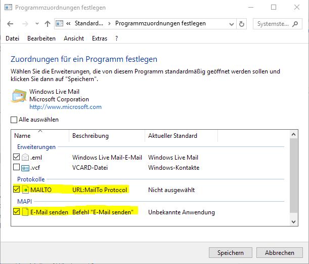 Windows Live Mail um aus einer Datei direkt eine Mail zu senden