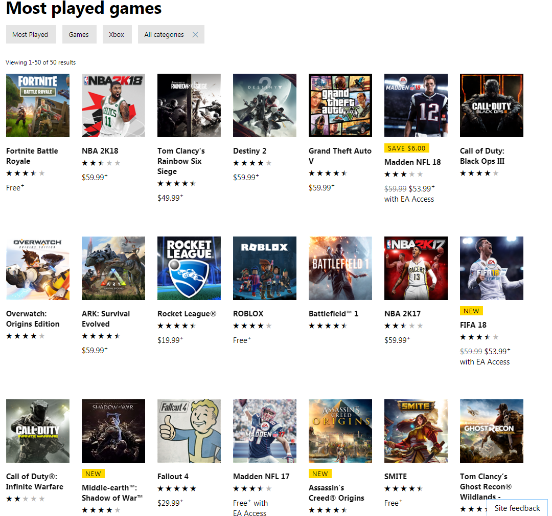 Pubg climbs the xbox most played games list, but can't dethrone.