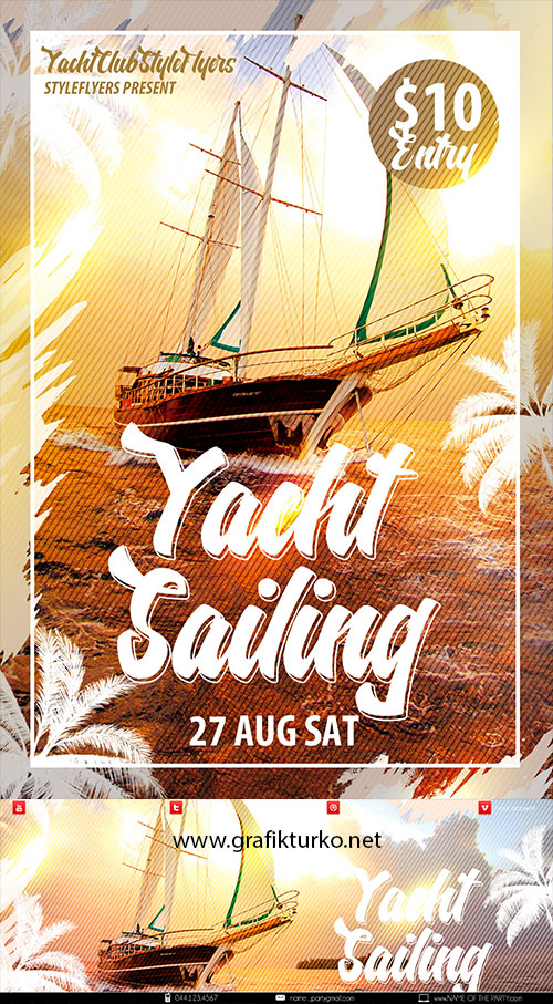 Yacht Sailing Flyer+Facebook Cover Photoshop PSD