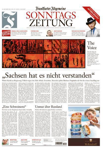 : Frankfurter Allgemeine  Sonntags Zeitung Ausgabe 16 Oktober 2016