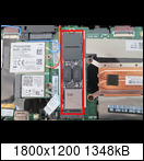 "Remove the ""old"" factory installed SSD drive and replace with the ""new"" SSD drive (red square)."