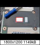 "Remove the ""old"" factory-used ordinary thermal compound on the processor and clean the surface of the processor with alcohol. Spread the ""new"" metallic thermal compound on the processor in the marked area (red square)."